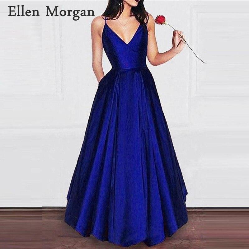 Sample Royal Blue Satin Prom Dresses 2019 For Women Real Pictures Straps Zipper Floor Length Vestido De Festa Party Gowns