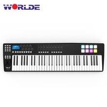 WORLDE teclado MIDI portátil de 61 teclas, controlador MIDI 8 RGB, almohadillas de disparo retroiluminadas de colores con Cable USB, teclado de Piano, Synthesi