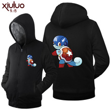 2016 New Fashion Winter Fleece Pokemon Anime Hoodies Famale Thicken Zip up Anime Mens Clothing casual Tops Unisex