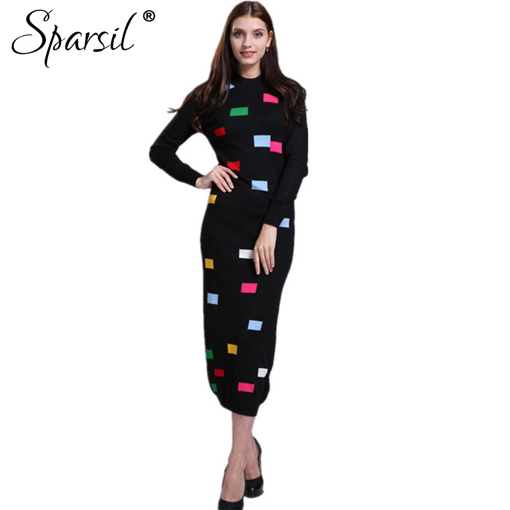 Sparsil Women's Winter&Autumn O-Neck Cashmere Blend Long Dress Lady Geometric Printed Patchwork Mid-Calf Knitted Vintage Dresses