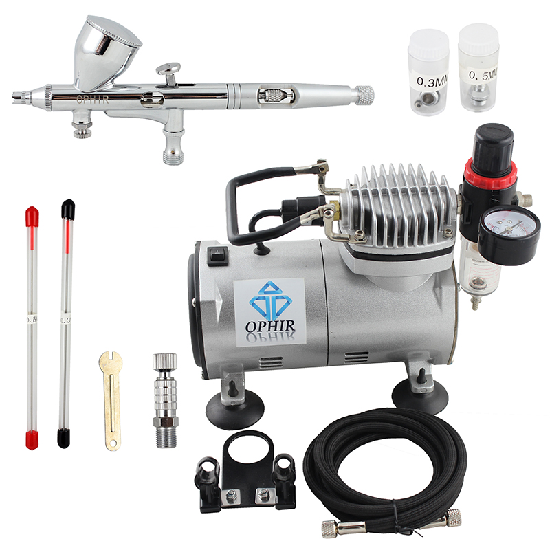 OPHIR Pro 3 Tips Dual Action Airbrush Kit with Air Compressor Air Brush Gravity Paint Gun for Nail Art Model Hobby _AC089+070 ophir temporary tattoo tool dual action airbrush kit with air tank compressor for model hobby cake paint nail art ac090 ac004