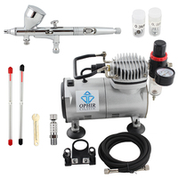 OPHIR Pro 3 Tips Dual Action Airbrush Gravity Paint Gun Kits With Air Compressor Hose Airbrush
