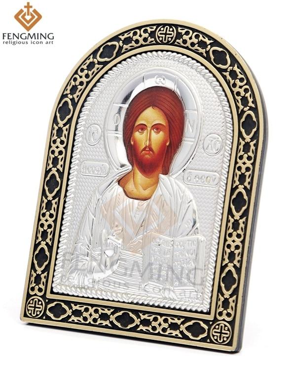 ruská ortodoxní stříbro byzantské ikony Ježíše Krista - Dekorace interiéru
