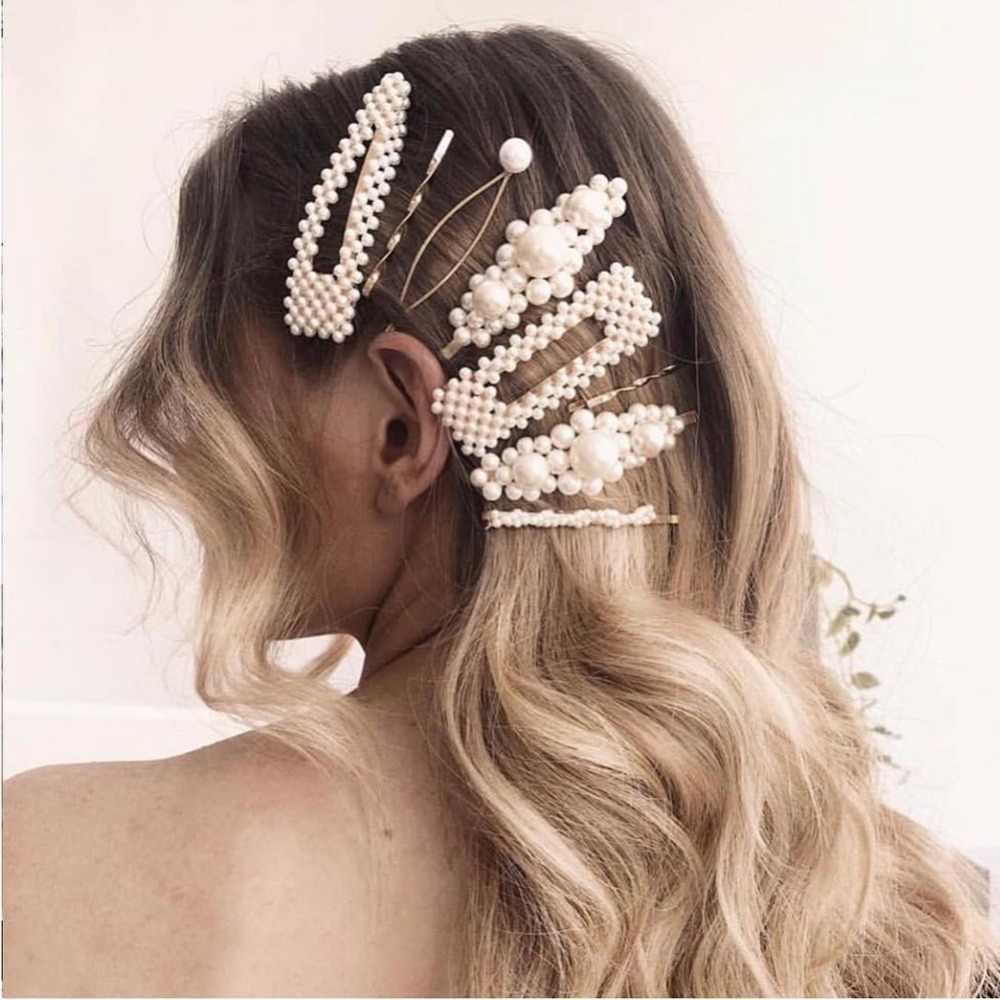 Лучшая Леди модный искусственный жемчуг заколки для волос письмо лицо украшения для волос милые Свадебные Элегантные волосы шпильки для женщин Заколка-невидимка для волос