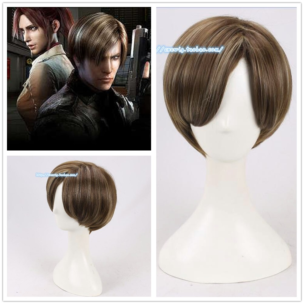 Film Resident Evil Leon Scott Kennedy Perruque Cosplay Brun Cheveux Courts Jeu de Rôle Costumes