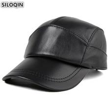 SILOQIN Adjustable Size Genuine Leather Hat Mens Cowhide Baseball Cap Autumn Male Bone Snapback Caps For Men Brands