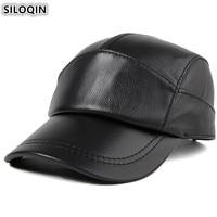 SILOQIN Adjustable Size Genuine Leather Hat Men's Cowhide Leather Baseball Cap Autumn Male Bone Snapback Caps For Men Brands Cap
