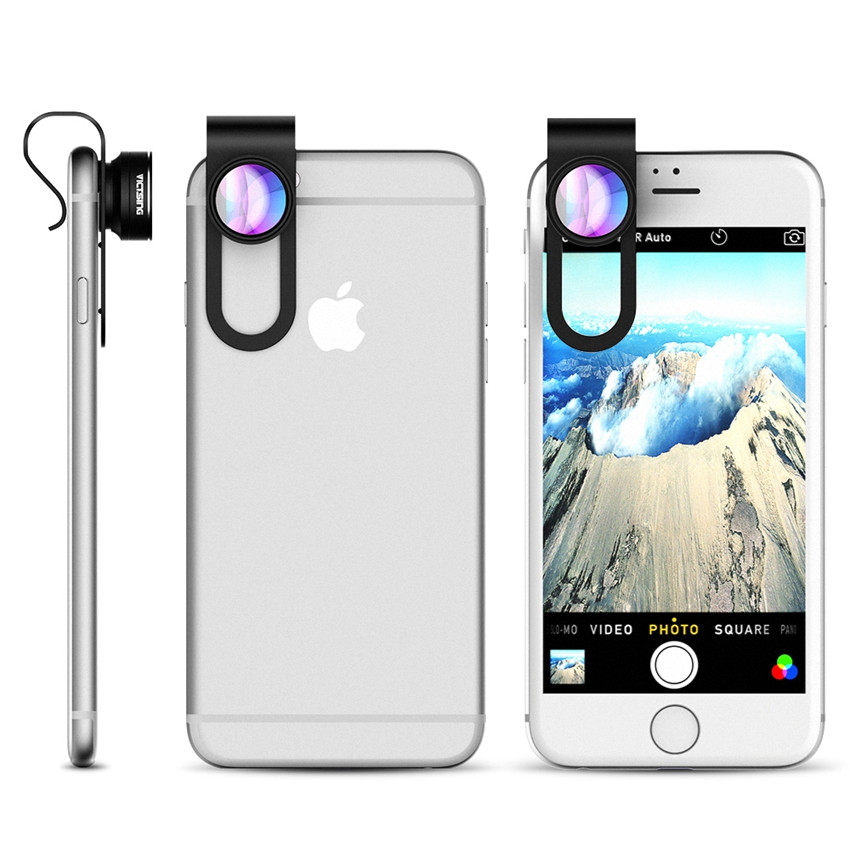 VicTsing 3 In 1 Universal Clip 180 Degree Camera Phone Lens Fisheye Lens+ 10X Macro+ 0.65X Wide Angle Lens Kit for Smartphones 8