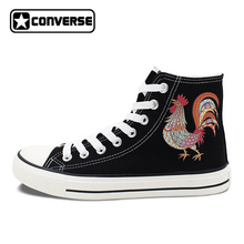 Unisex Black Converse All Star Shoes Original Design Cock Rooster Skateboarding Shoes High Top Canvas Sneakers