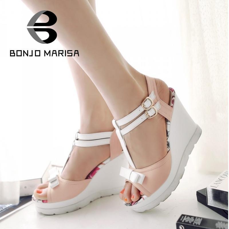 ФОТО Big Size 33-42 Fashion High Wedge Heels Women Sandals 2015 New Platform Female Summer Sandals T-Strap Ladies Shoes With Bowtie