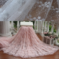 Free Shipping Width120cm Pink Vintage Embroidered Lace Fabric Wedding Gown Lace Fabric Bridal Gown