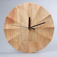 12 Inch Nordic Modern&Minimalist Round Wooden Wall Clock Creative Fashion Hanging Clock Bedroom Silent Movement Metal Pointer