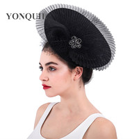 Women imitation Sinamay Fascinator Hats Black Kentucky Derby Wedding Cocktail Church clips gril birdcage veils Modern Headwear