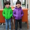 2017 primavera meninas meninos ultraleves jaqueta para crianças 90% pato para baixo azul orange crianças inverno zipper casaco com capuz parkas FH051
