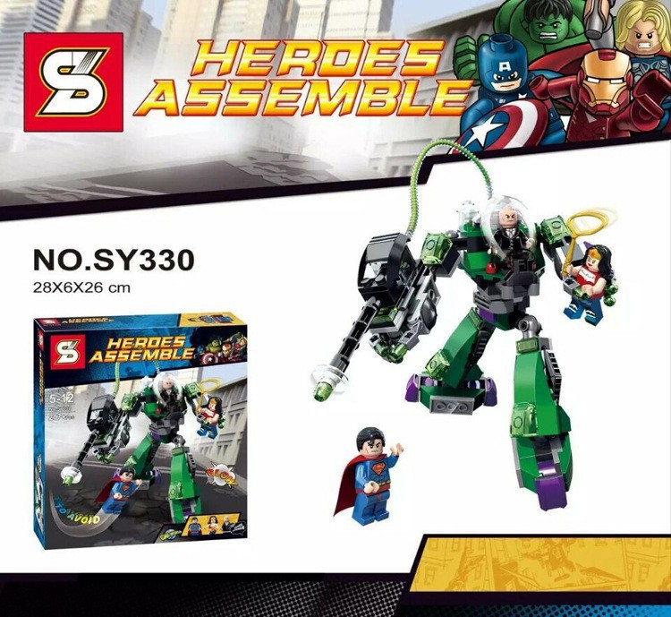 2017 New SY330 DC Super Heroes Superman VS Robot Bricks Children Toys Sets Building Blocks Kids Gift Compatible With Legoe lepin 02012 city deepwater exploration vessel 60095 building blocks policeman toys children compatible with lego gift kid sets