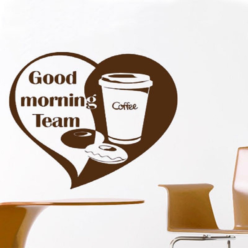 Good Morning Chinese Express : Cafe wall stickers quote good morning team love vinyl