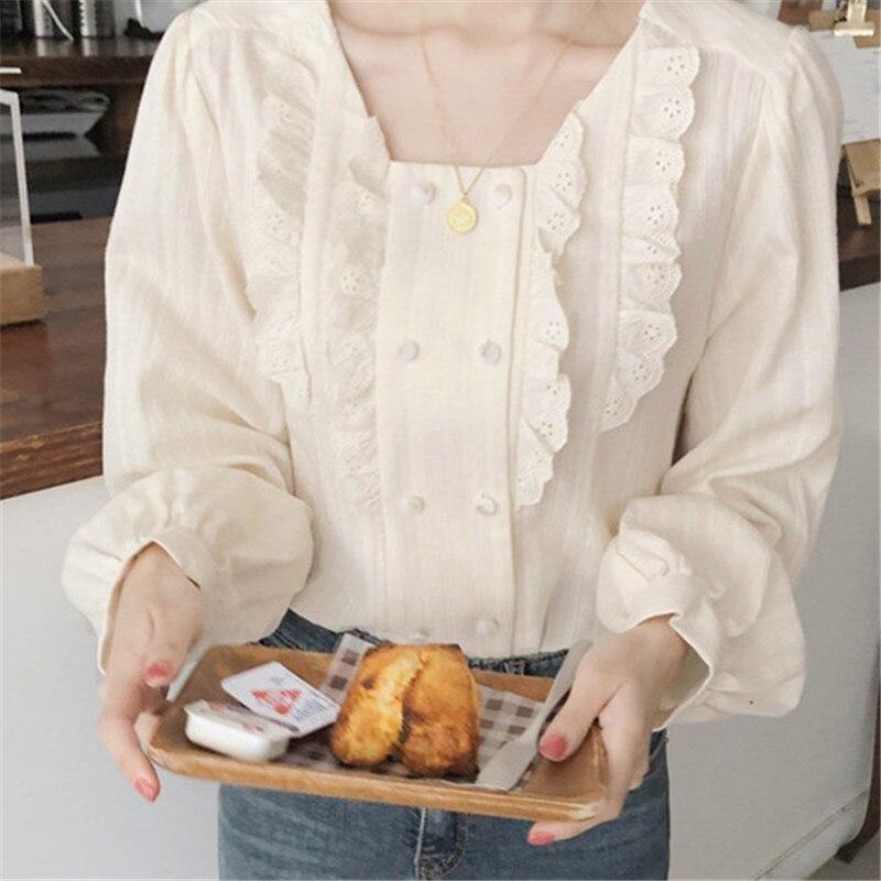 Corée Chic femmes chemises printemps doux col carré doux Lolita hauts creux lâche à manches longues blanc chemises Vintage Boho Blouse