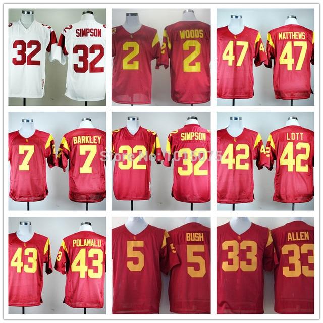 USC Trojans Jerseys Clay Matthews,Marcus Allen,Matt Barkley,O.J. Simpson,Reggie Bush,Robert Woods,Lott,Troy Polamalu jersey