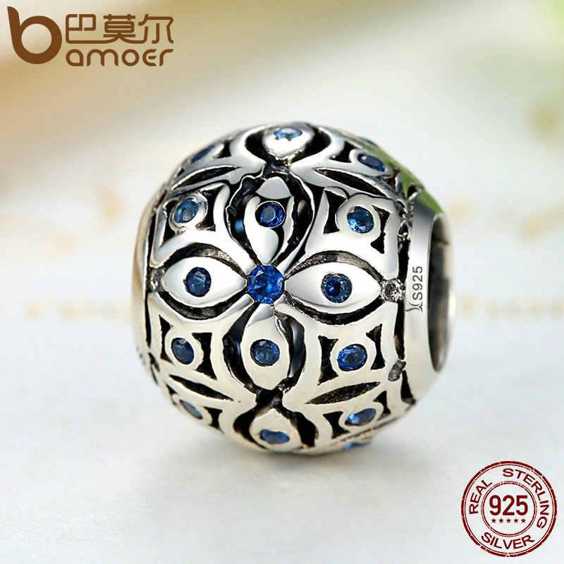 BAMOER подвески из стерлингового серебра 925 пробы с синими кристаллами S925 подвеска в форме шара браслеты и браслеты для женщин ювелирные изделия SCC059
