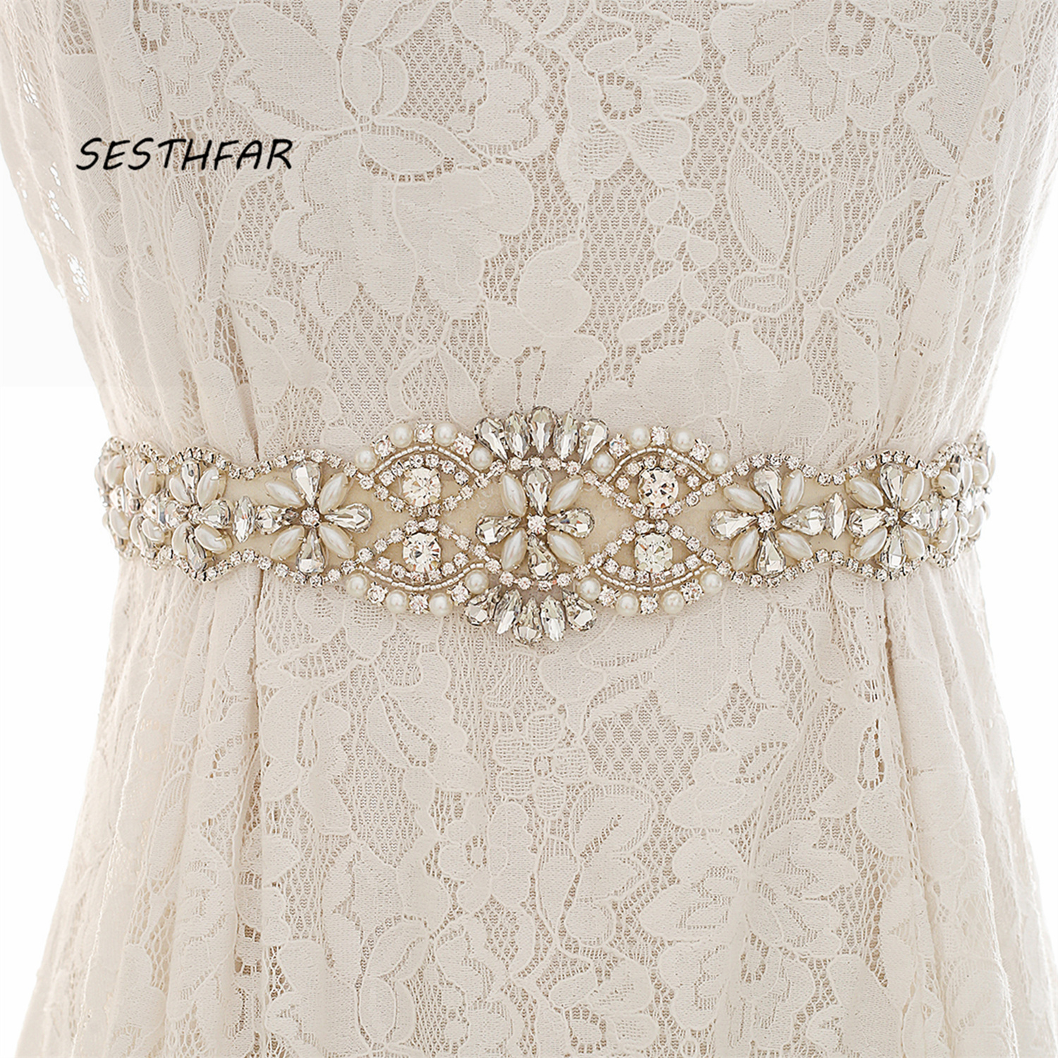 Wedding-Belt Wedding-Dress-Accessories Bridal-Sash Sliver Satin Rhinestones Pearls Crystal