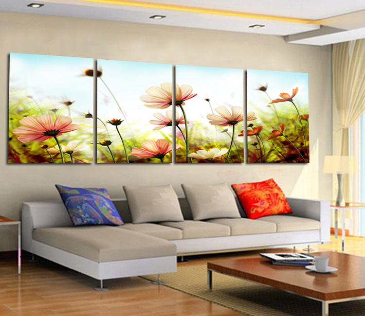 Online Home Modern Brief Picture Frame Romantic Pink Flower Paintings Decorative Painting Mural Aliexpress Mobile