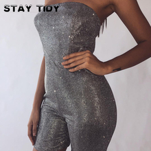 STAY TIDY Silver Shinny Reflective Women Strapless Slash Neck Back Zipper Skinny Romper Sexy Party Clubwear Bodycon Playsuits