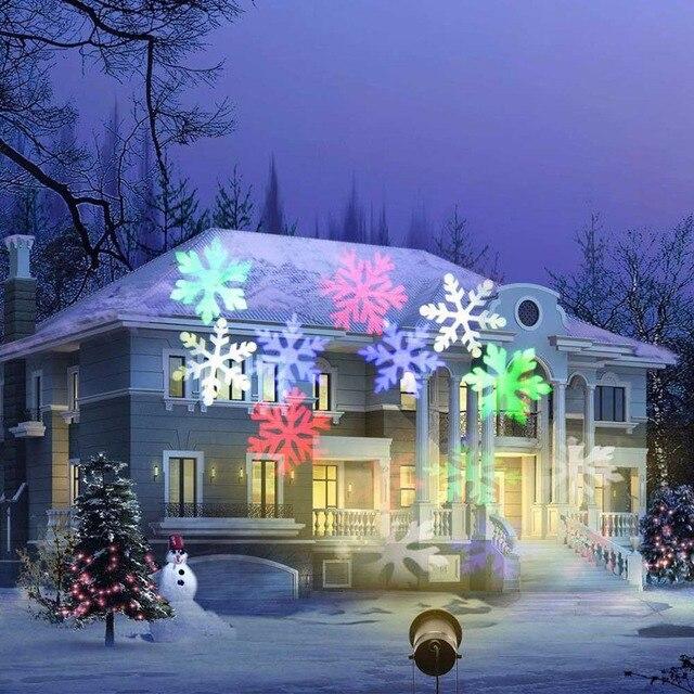 مقاوم للماء تتحرك ندفة الثلج جهاز عرض ليزر ضوء عيد الميلاد السنة الجديدة LED ضوء المرحلة في الهواء الطلق حفلة الثلج حديقة مصباح بعمود