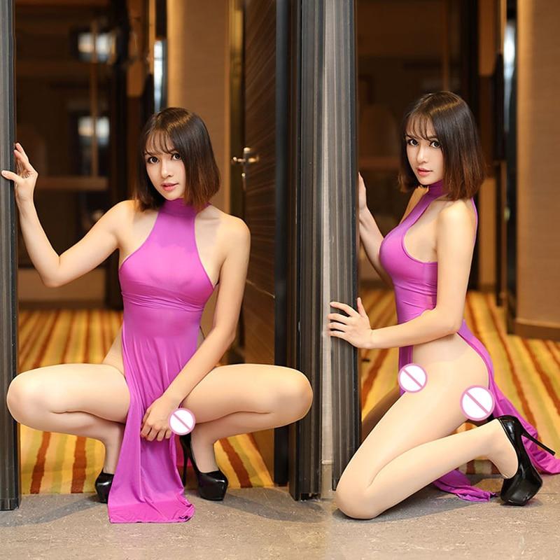 Sexy Women Dual Use Milk Ice Silk Smooth Elastic Nightclub High Cut Dress Turtleneck See Through Club Dance Wear F26 in Dresses from Women 39 s Clothing