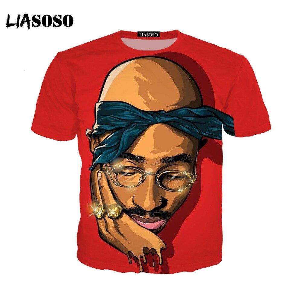 LIASOSO 2pac t shirt Shakur rapper Hip Hop Magliette Makaveli Snoop Dogg Biggie Smalls eminem J Cole jay-z Savage hip hop KK56