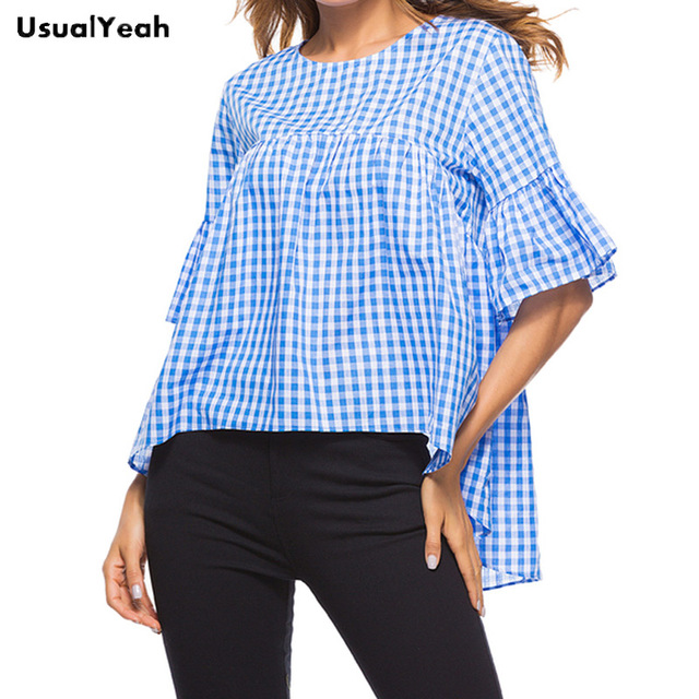 f5c969a2057 2018 UsualYeah Simple Style Women Cotton Half-sleeve Loose Tops Summer  Casual Front Short Back Long Mujer Blouse Blue S M L XL