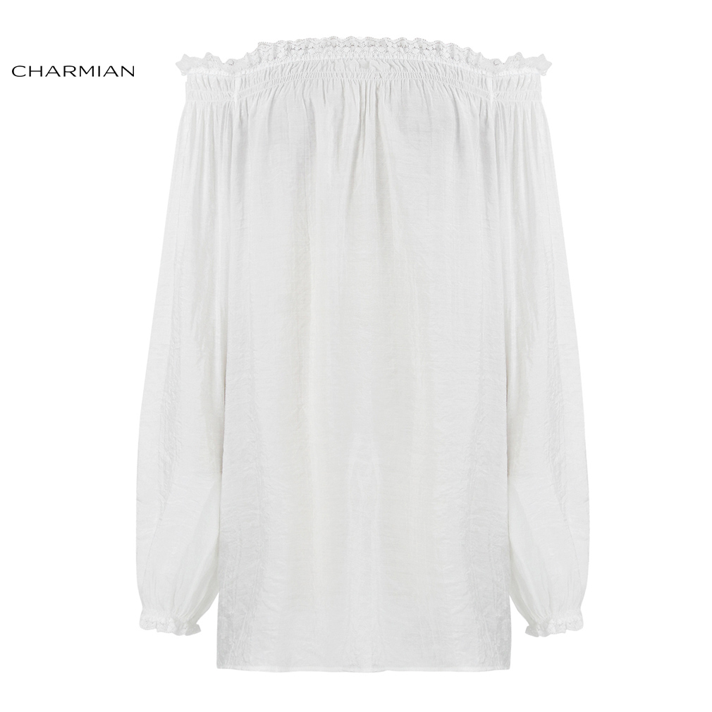 Charmian Women's Sexy Autumn Off Shoulder Top Shirt Victorian Vintage Gothic Blouse Lolita Lace Ruffle Long Sleeve Long Top