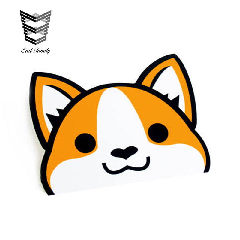 EARLFAMILY 12cm x 10cm Peeking Corgi Vinyl Decal Sticker Laptop Stickers Cute Pet Dog Decals Waterproof Car Stickers