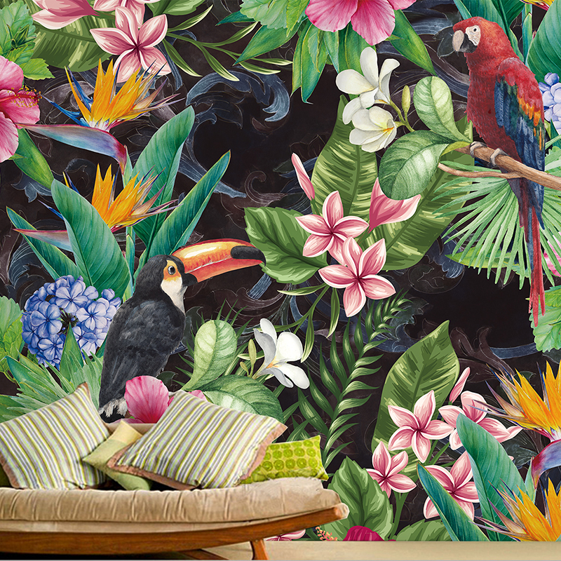 Custom 3D Tropical Rain Forest Parrot Leaf Photo Mural