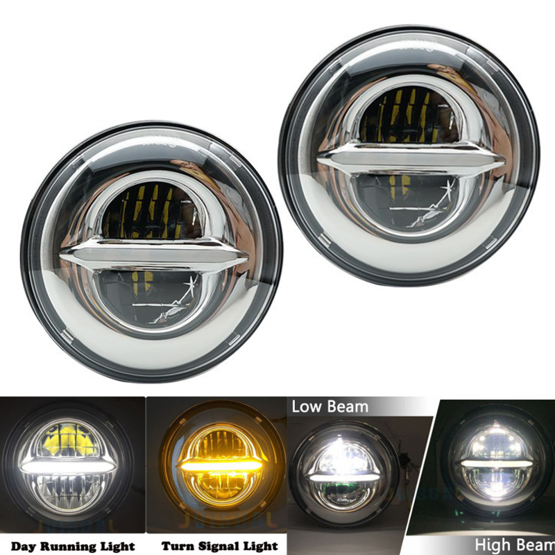 Pair 7 LED DRL H4 Headlights For Jeep Wrangler 7 Inch LED Headlamps White DRL + Amber For lada niva 4x4 suzuki new and original kde1205pfv3 12v 0 8w 5010 5cm ultra quiet cooling fan for sunon 50 50 10mm