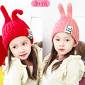 Осень и зима детские шапки мальчиков и девочек кроличьи уши теплый трикотажные hat cap 0-4 лет ребенка зимой шерсть симпатичные cap