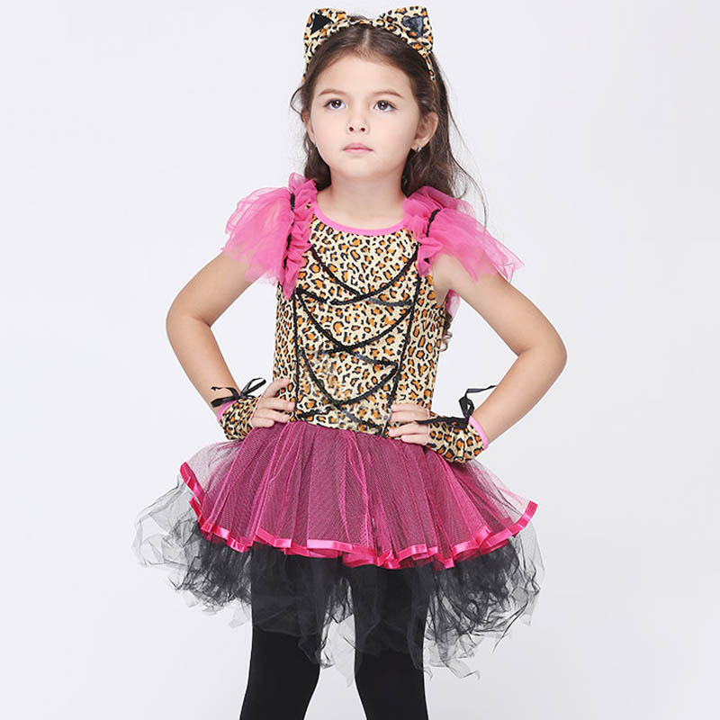 Animal Cosplay Costume For Girls Halloween Christmas Girls Party Dress Fancy Kids Children Dancing Leopard Costume Dresses