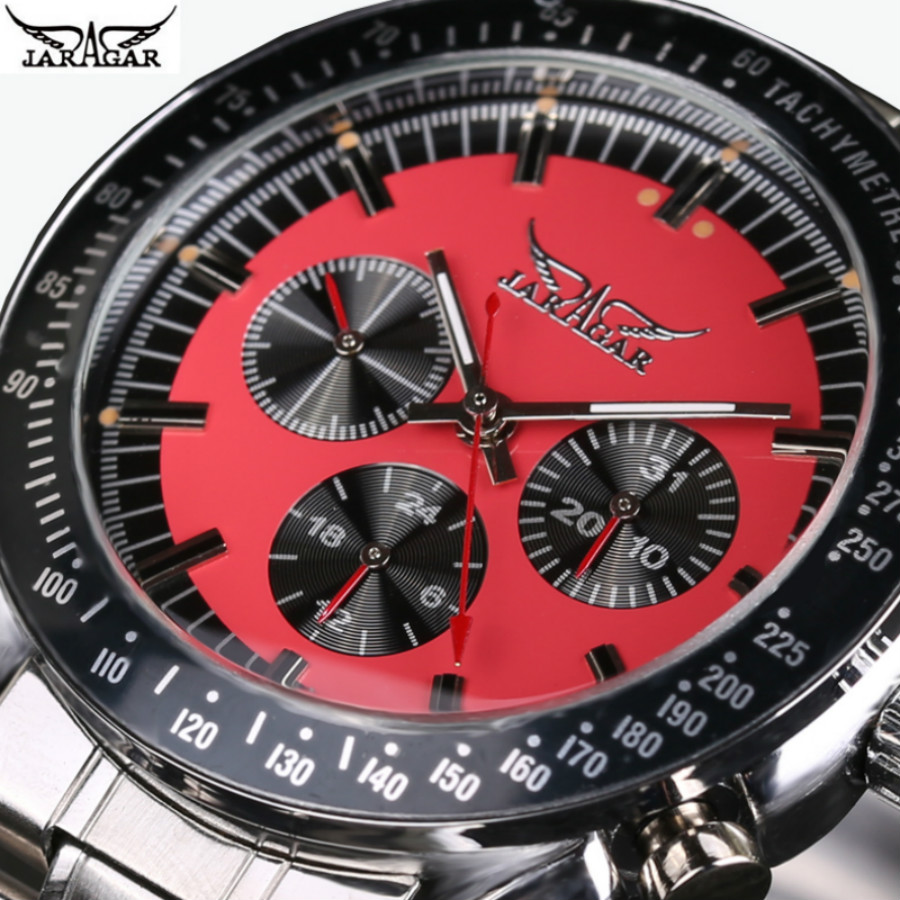 JARAGAR Men Watch Top Luxury automatic mechanical Watches Men stainless steel Men Multifunction Wristwatch tevise fashion auto date automatic self wind watches stainless steel luxury gold black watch men mechanical t629a with tool