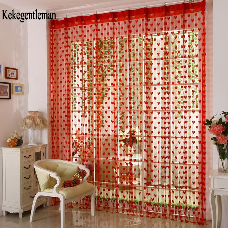Kekegentleman Heart String Curtain 200*100cm/300*300cm Door Window Tassel Curtain Valance Room Divider Wedding Home Decoration