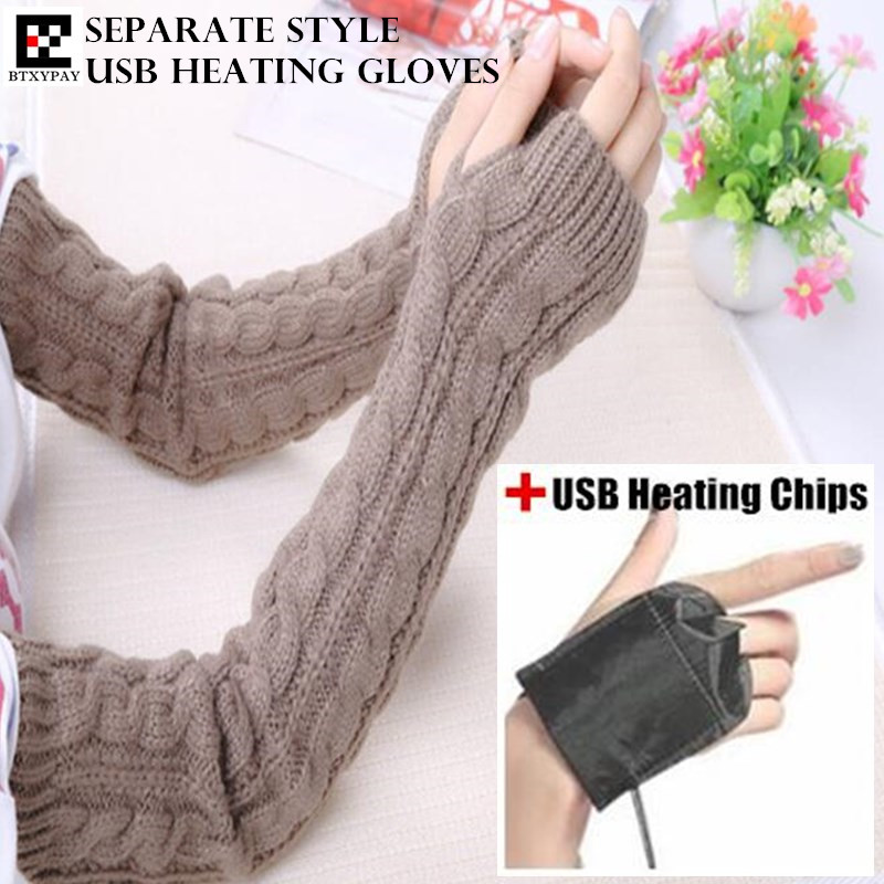 100p Winter Warm Women&Girl Separate Style USB Heating Gloves,Fashion Wild Hand Back Heated Knitted Twist Fingerless Long Gloves