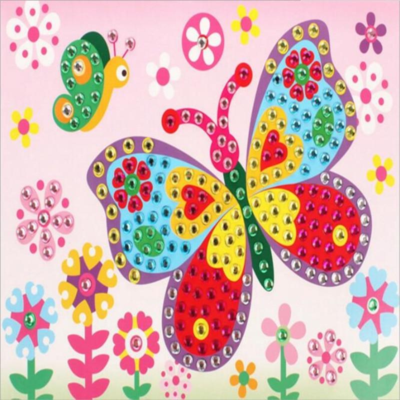 Hot Sale 10PCS Different Kids Children Kindergarten Educational Puzzles Crystal Diamond Mosaic Sticker Painting DIY Crafts Toys