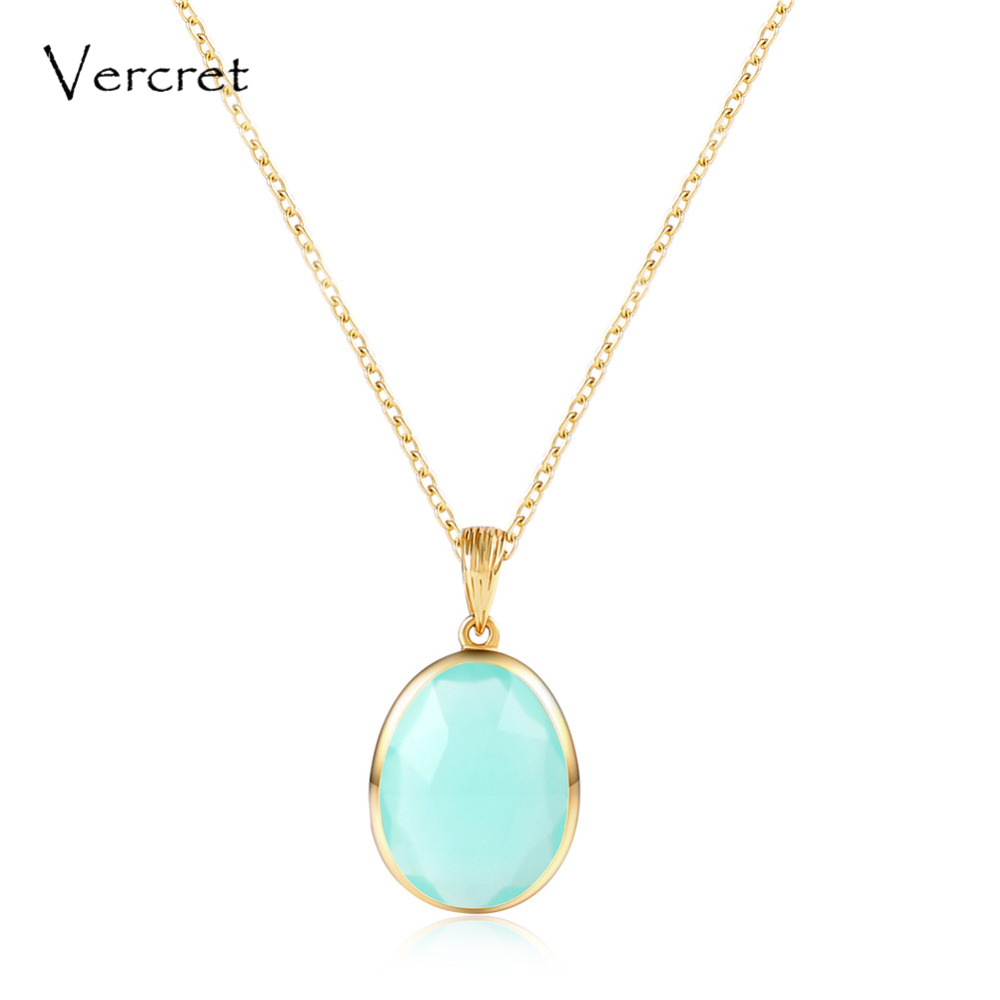 Vercret delicate aqua calci pendant necklace with 925 sterling silver chain necklace women's jewelry gifts sp