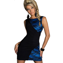 New Sexy Sleeveless Lace Dress Patchwork evening short lace dress Colour Blocking Girl Dresses Clubwear Blue Pink Plus size N109