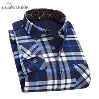 2017 4XL 5XL Men Casual Plaid Long Sleeve Shirts Spring Autumn Warm Outwear Thick Plus Cashmere