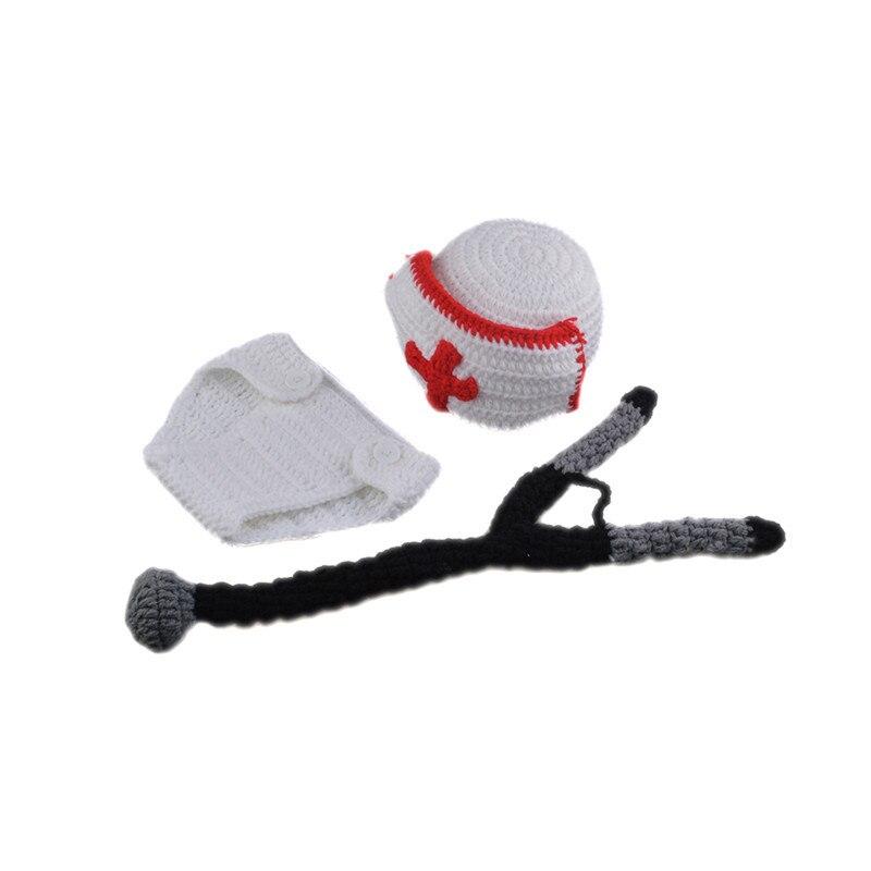 Crochet blanco bebé Doctor sombrero y estetoscopio conjunto tejido ...