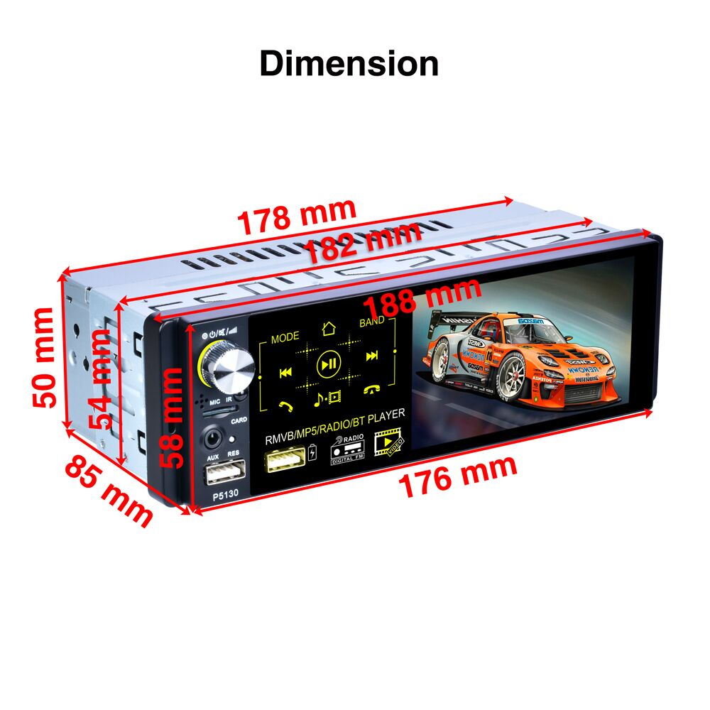 """Image 2 - Podofo Car Radio 4.1"""" HD Autoradio Multimedia Player 1DIN Touch Screen Auto audio Car Stereo MP5 Bluetooth RDS Dual USB Micphone-in Car Radios from Automobiles & Motorcycles"""