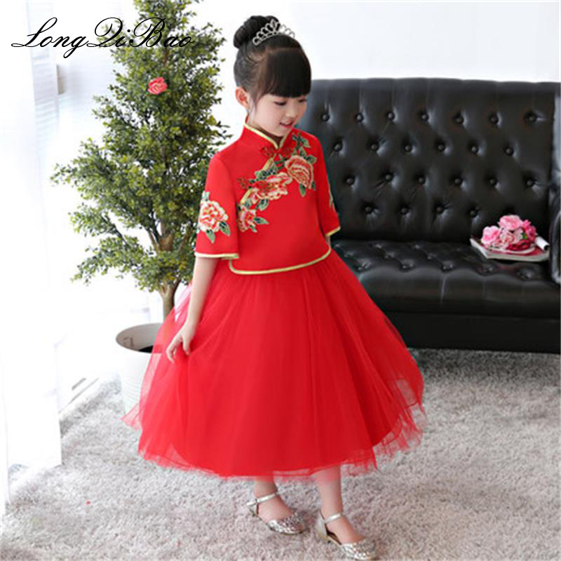 Baby girl red children cheongsam birthday dress princess dress girls piano guzheng costume host dress autumn and winter models baby girl red children s dress princess dress long sleeve birthday flower girl dress girl piano host costume long winter