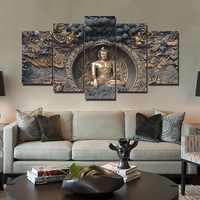 Полностью квадратная дрель 5D DIY Алмазная картина 5 шт. статуя Будды креативный набор вышивки крестиком Мозаика домашний Декор Спальня