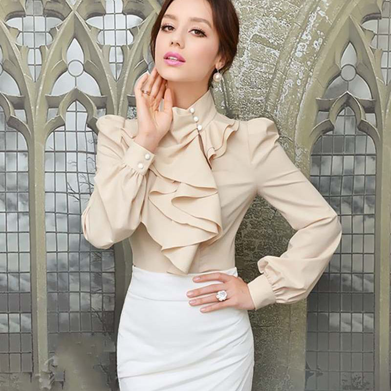 New Womens Victorian Ruffle Collar Blouse Puff Sleeve Silky Luxurious Top Shirt For Women Female Shirts Blouses Plus Size Free