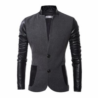 Men Wool Jacket Coat Patchwork PU Leather Sleeve Fashion Slim Fit Design Mens Pea Coat Jacket