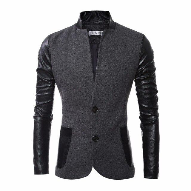 Men Wool Jacket Coat Patchwork PU Leather Sleeve Fashion Slim Fit Design Mens Pea Coat Jacket Woolen Outwear Autumn Men Overcoat